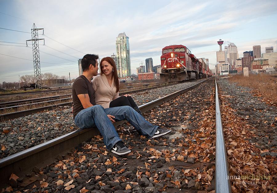calgary couples photography anna michalska train tracks