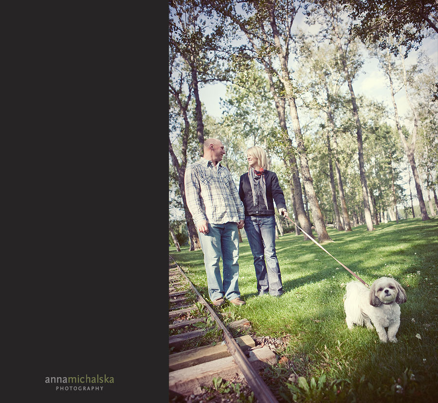 calgary engagement photography anna michalska bowness park puppy train tracks