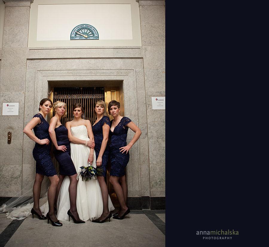 calgary wedding photography anna michalska epcor center elevator bridesmaids