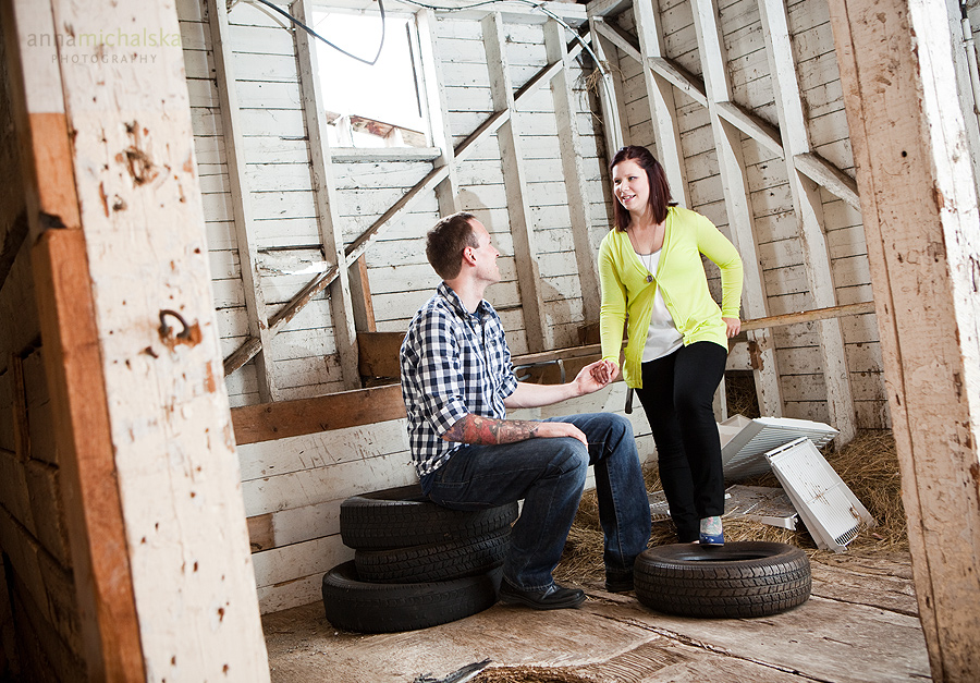 calgary engagement photographer anna michalska barn old rustic tires