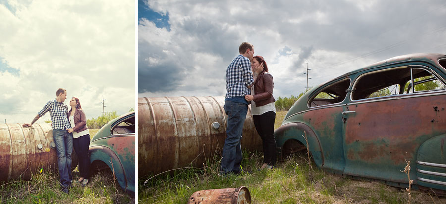 calgary engagement photographer anna michalska old antique rusty car