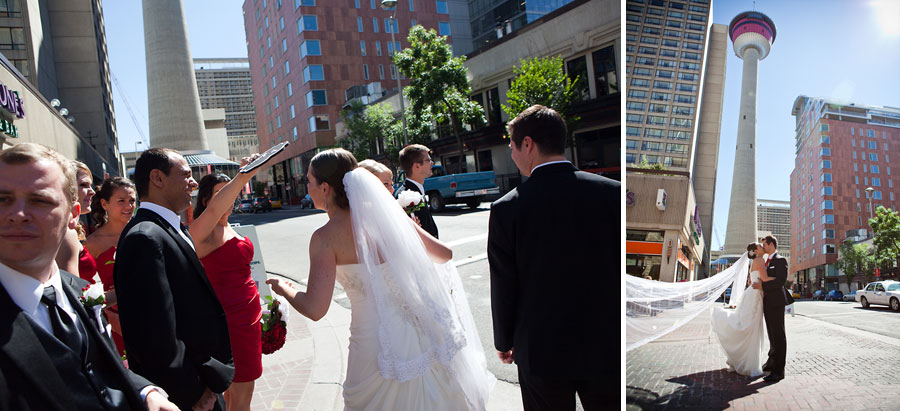 calgary wedding photographer anna michalska downtown city hall olympic plaza teatro calgary tower