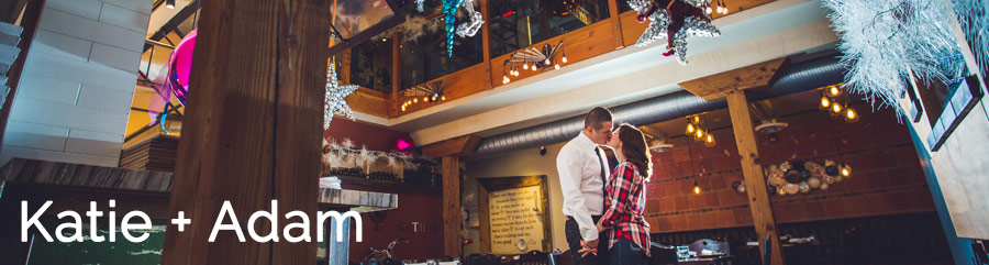 bride in plaid inside cibo restaurant calgary 17 ave calgary engagement photos