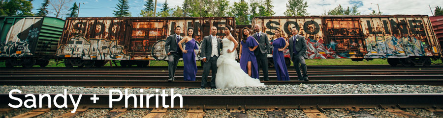 bridal party with rustic train in the city cambodian wedding in calgary