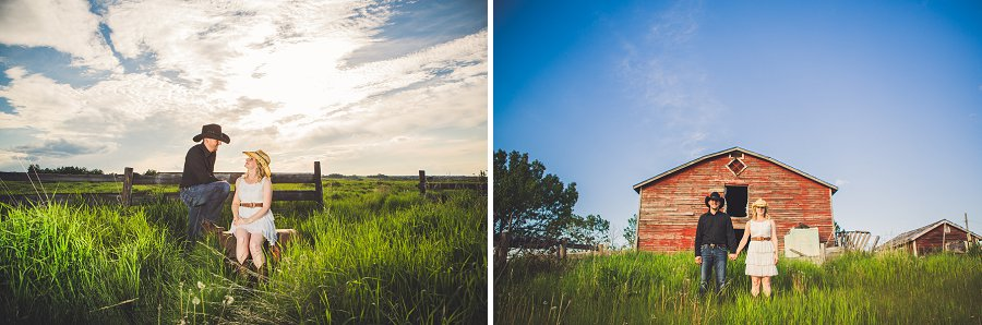 cowboy style couple at red barn in calgary engagement session