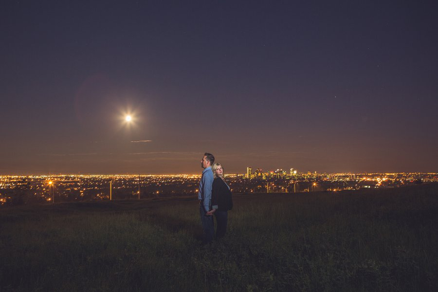cowboy style couple supermoon 2013 nose hill park calgary engagement session