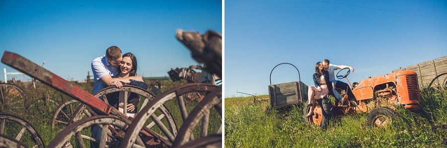 couple on farm equipment rustic engagement session calgary anna michalska