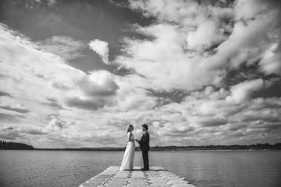 south glenmore sailing club bride groom over water wedding calgary