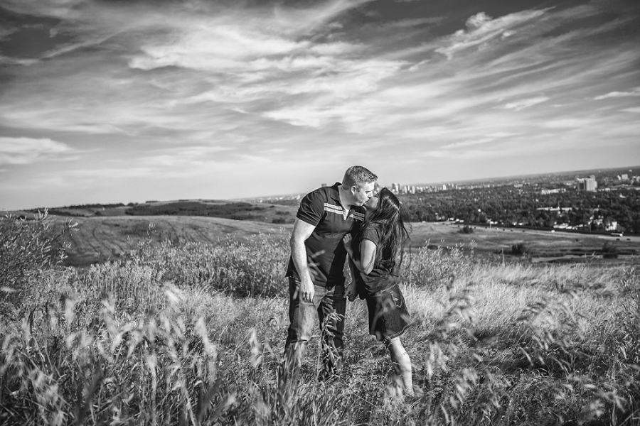 black and white couple anna barry sunset engagement skyline calgary