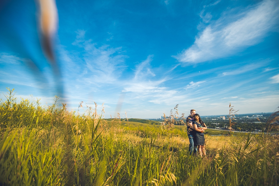 sunset engagement session view of calgary from field anna michalska