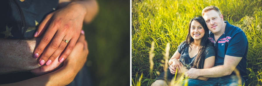 couple in tall grass sunset engagement session bride engagement ring