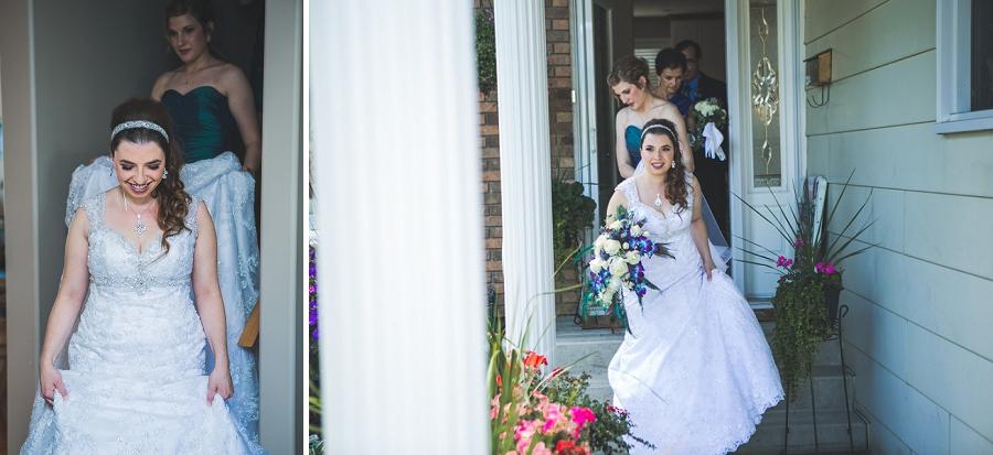 bride leaving for ceremony calgary wedding photographer anna michalska peacock themed wedding