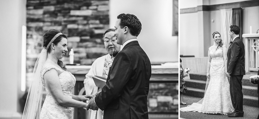 bride and groom exchange vows calgary wedding photographer anna michalska peacock themed wedding