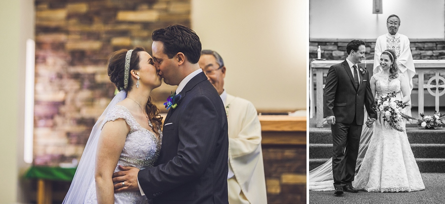 bride and groom first kiss calgary wedding photography anna michalska peacock themed wedding