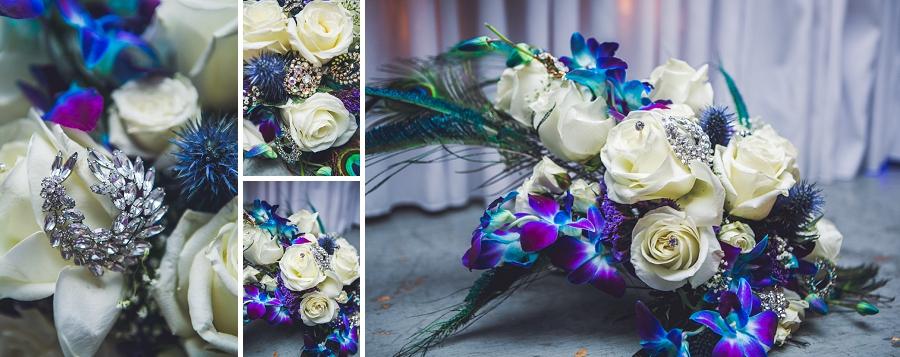 peacocked themed bridal bouquet calgary wedding photographer anna michalska