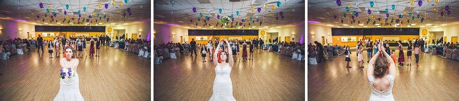 bride bouquet toss wedding reception calgary photographer anna michalska
