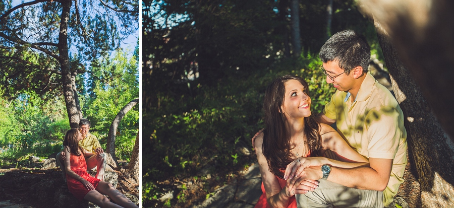 couple looking at each other calgary engagement session reader rock gardens