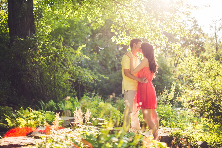 couple kissing calgary engagement session reader rock gardens