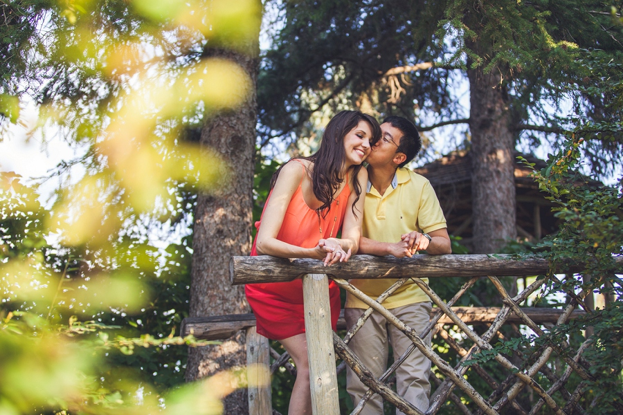 man kissing woman reader rock gardens calgary engagement session