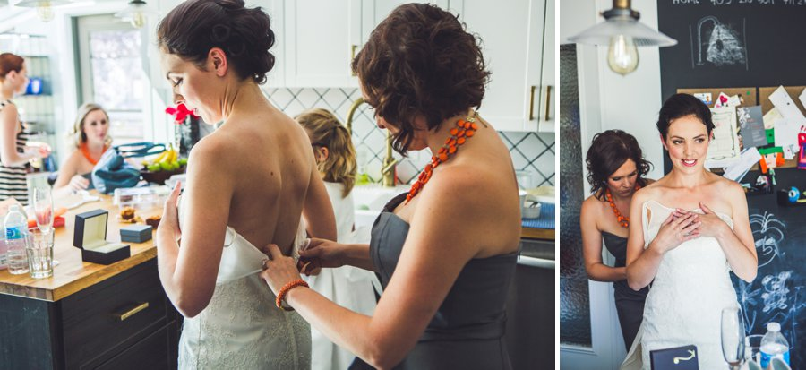 calgary wedding photographers anna michalska bride getting into dress