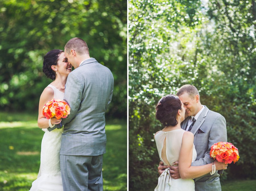 bride and groom hug first look confederation park calgary wedding photographers anna michalska