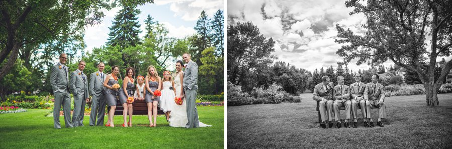 bridal party groomsmen laughing bride groom riley park calgary wedding photographers anna michalska