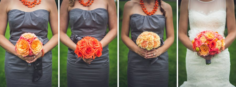 grey bridesmaid dresses orange flowers riley park calgary wedding photographers anna michalska