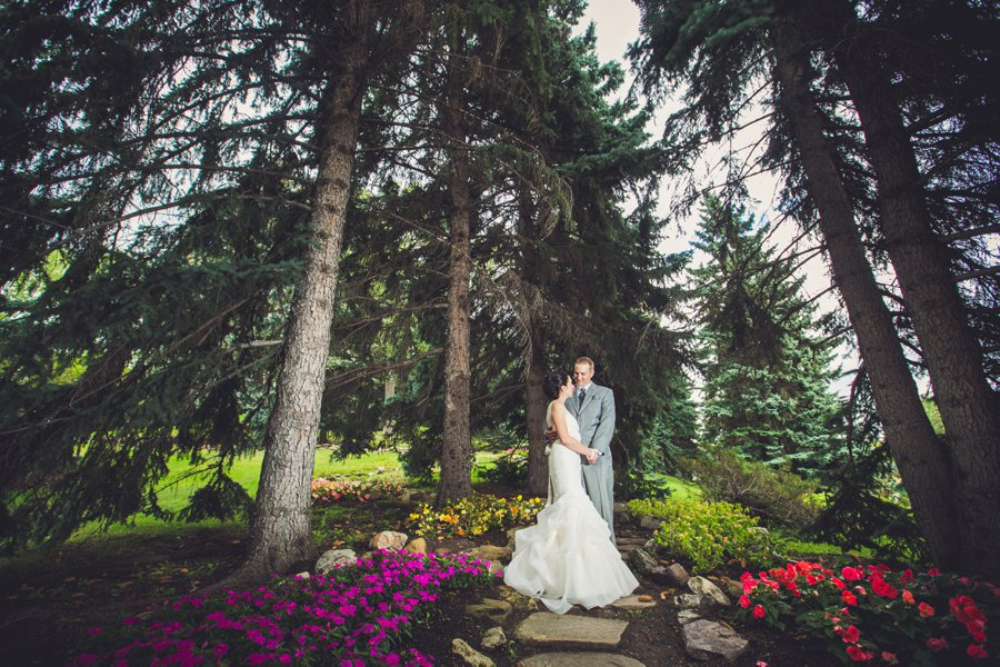 bride groom pine trees riley park calgary wedding photographers anna michalska