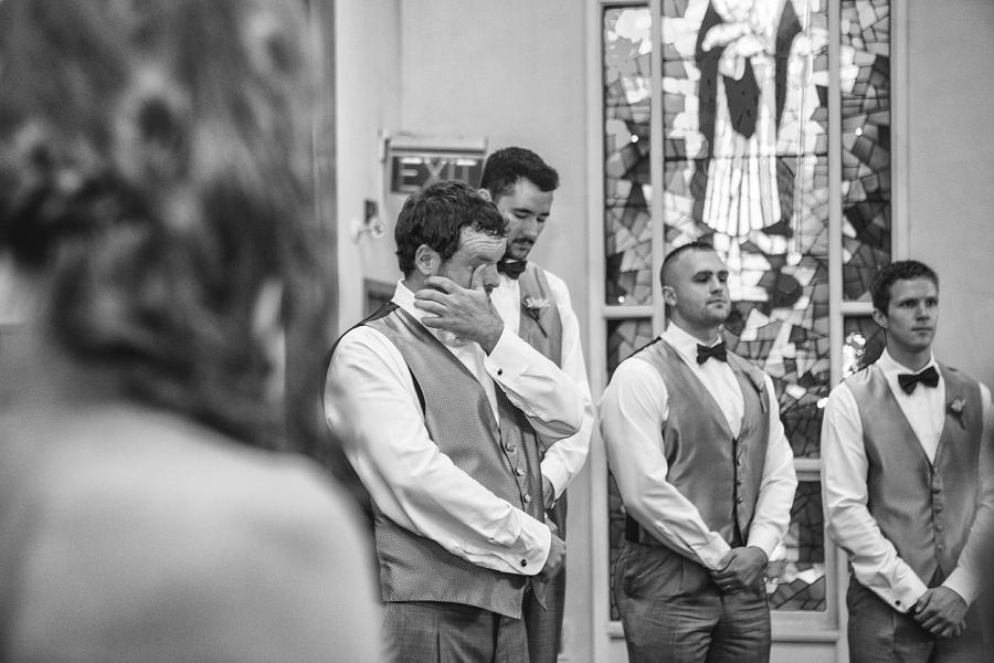 calgary wedding photographers groom tears at sight of bride