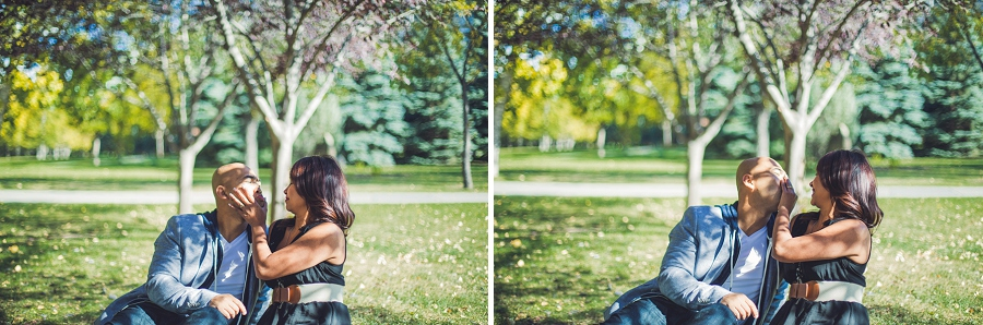 couple being silly calgary cambodian engagement session prince's island park