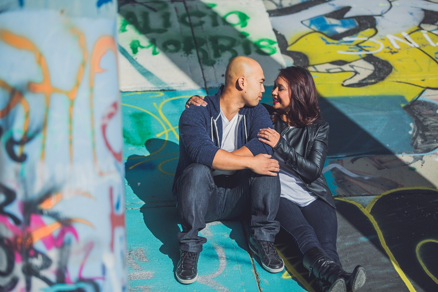 calgary cambodian engagement session bride groom graffiti bridge