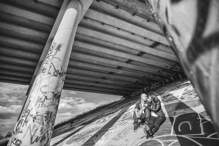 graffiti overpass bridge  calgary cambodian engagement session