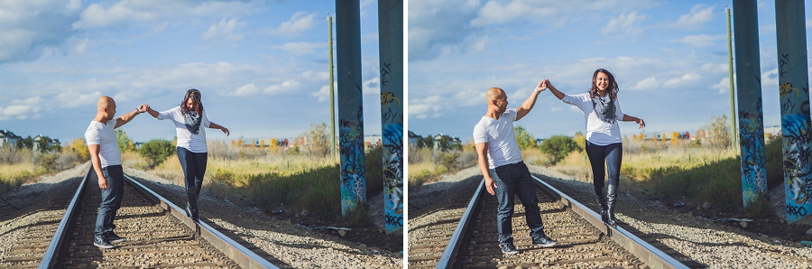 calgary cambodian engagement session train tracks
