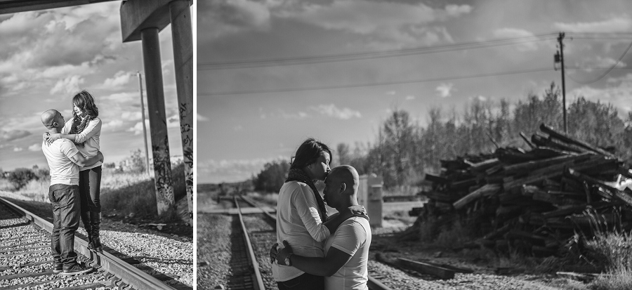 calgary cambodian engagement session train tracks black and white