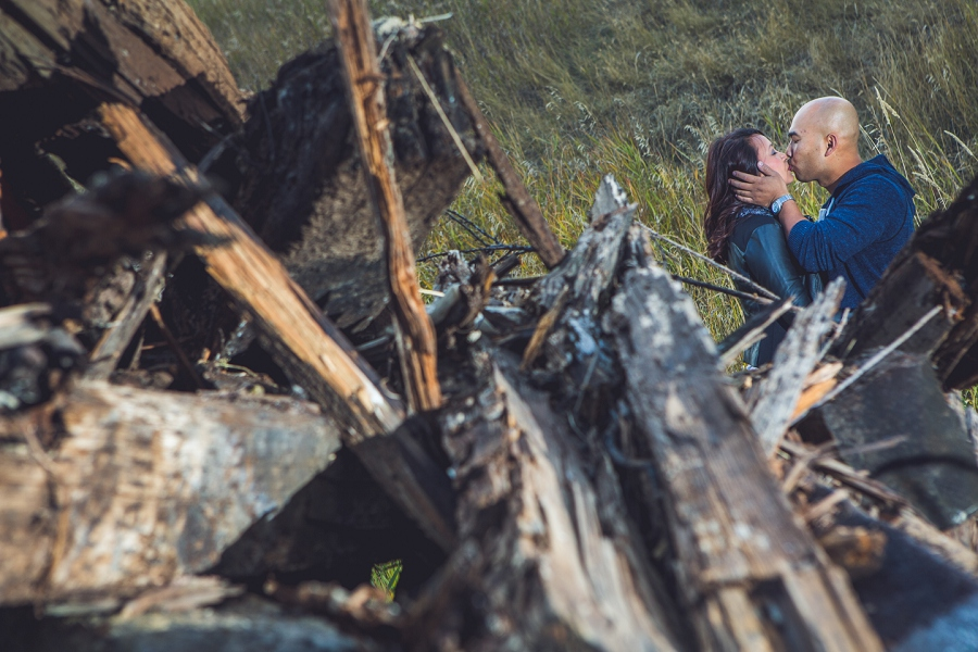 calgary cambodian engagement session wood pile