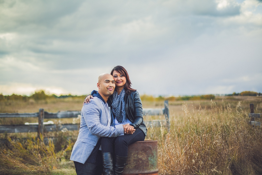 calgary cambodian engagement session rustic barrel