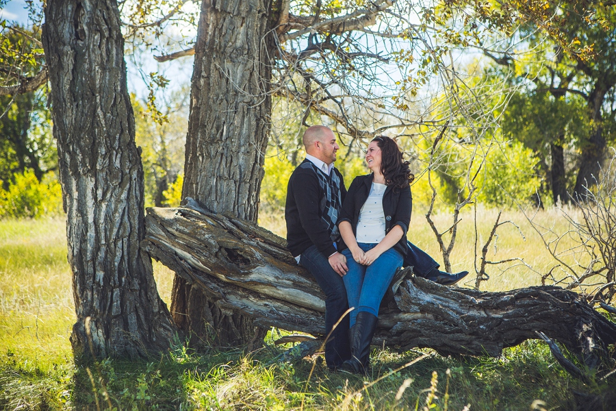 pincher creek calgary engagement photography anna michalska bride groom under tree