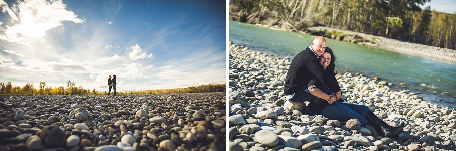 pincher creek calgary engagement photography anna michalska bride groom beside lake water rocks