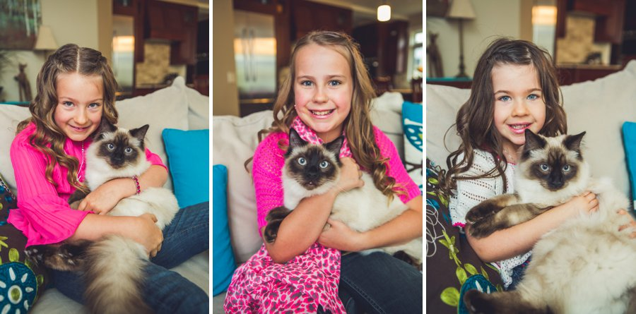 calgary family photographer daughters sisters with cats