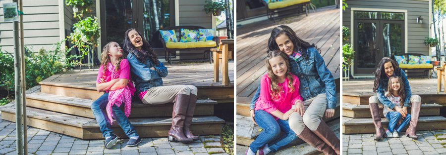 calgary family photographer mother with daughters in backyard