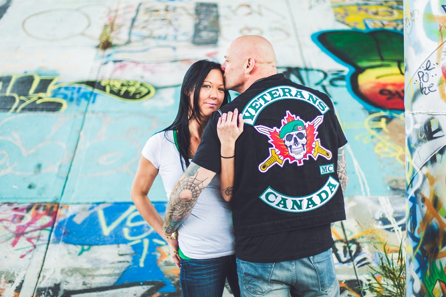 calgary biker couple engagement session photographer veterans MC canada graffiti