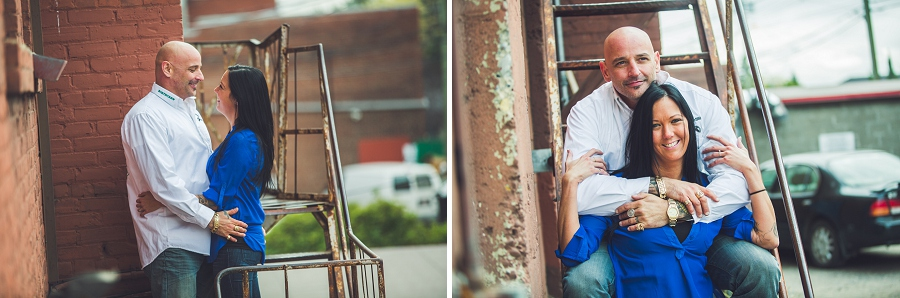inglewood back alley stairway calgary biker couple engagement session photographer
