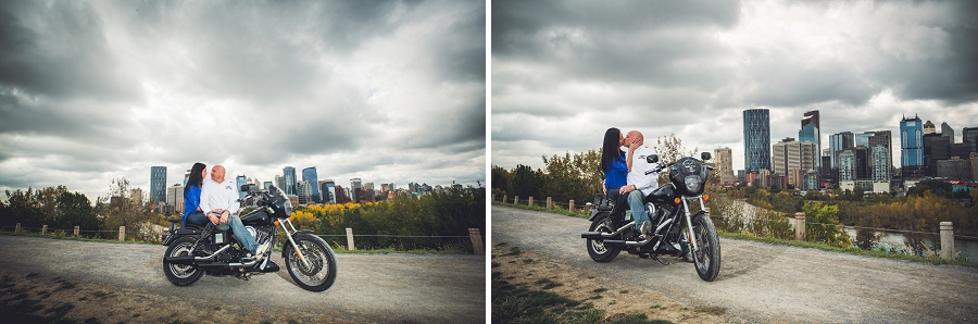 crescent heights calgary biker couple engagement session photographer