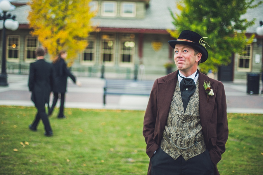 groom waiting for bride first look calgary steampunk wedding photographer anna michalska heritage park