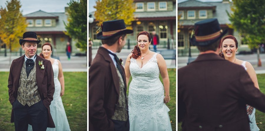 groom and bride first look calgary steampunk wedding photographer anna michalska heritage park