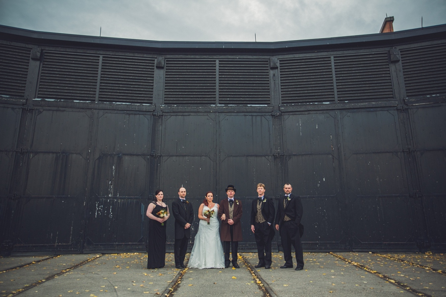 bridal party standing calgary steampunk wedding photographer anna michalska heritage park