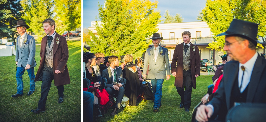 groom walking down aisle calgary steampunk wedding photographer anna michalska heritage park