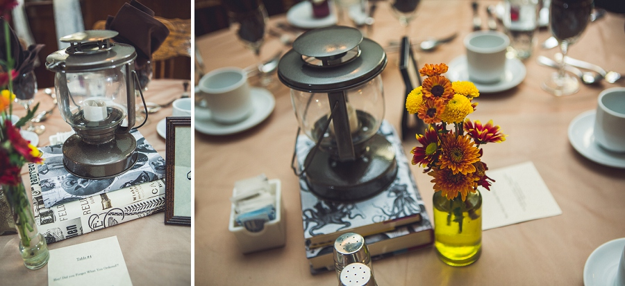 candle lantern flowers wedding reception decor calgary steampunk wedding photographer anna michalska heritage park