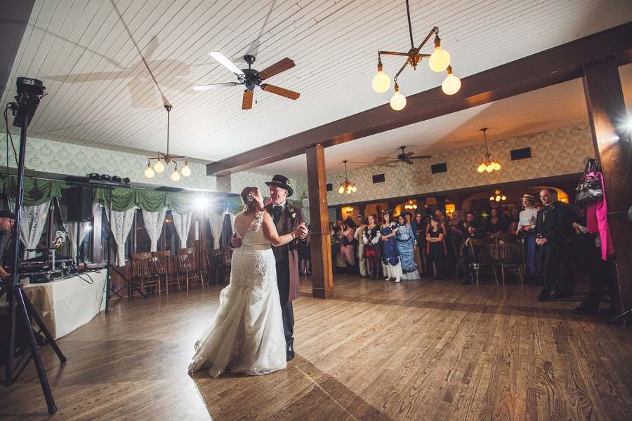 calgary steampunk wedding photographer anna michalska heritage park first dance