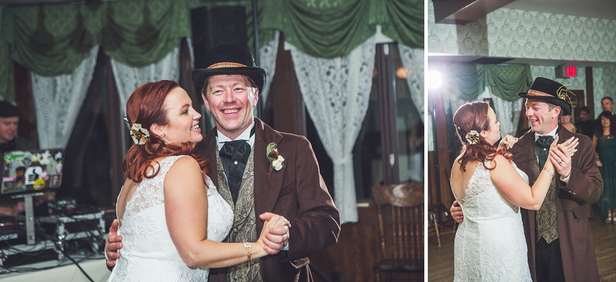 first dance bride and groom calgary steampunk wedding photographer anna michalska heritage park